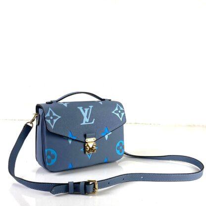 louis vuitton canta metis pochette mavi oversize empreinte bicolor deri 25x19