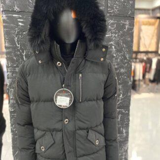moose knuckles mont erkek siyah kapusonlu premium