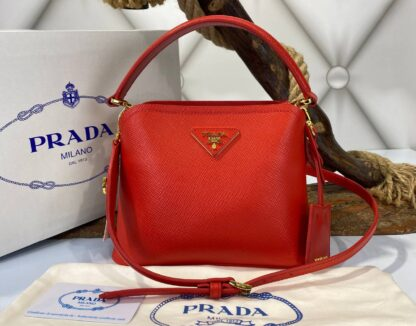 prada canta medium saffiano kirmizi 21x17 cm ithal