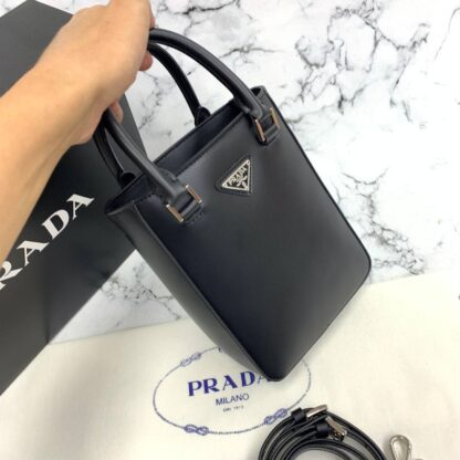 prada canta small brushed leather tore siyah ithal 20x14x9 cm