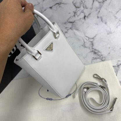 prada canta small brushed leather tote beyaz ithal 20x14x9 cm
