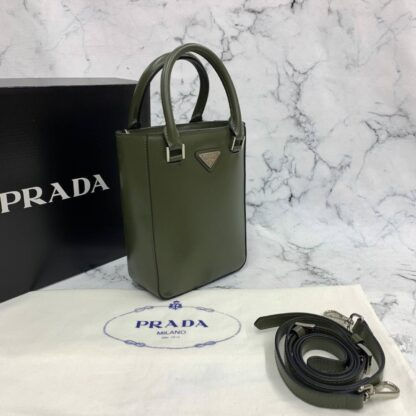 prada canta small brushed leather tote haki yesil renk ithal 20x14x9 cm