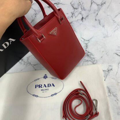 prada canta small brushed leather tote kirmizi ithal 20x14x9 cm