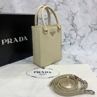 prada canta small brushed leather tote krem ithal 20x14x9 cm