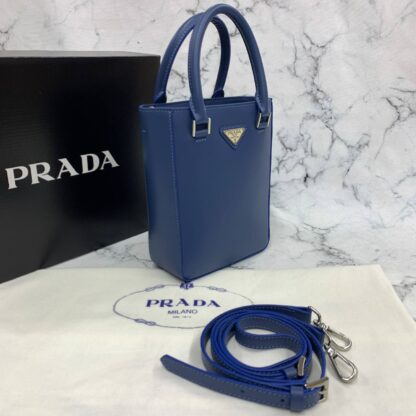 prada canta small brushed leather tote lacivert ithal 20x14x9 cm