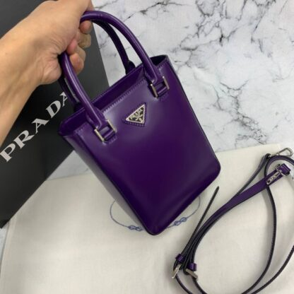 prada canta small brushed leather tote mor ithal 20x14x9 cm
