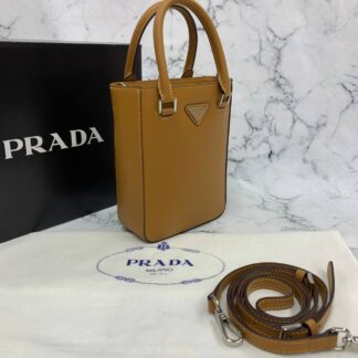 prada canta small brushed leather tote taba renk ithal 20x14x9 cm