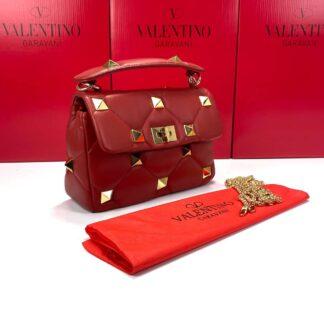 valentino canta medium roman stud with chain kirmizi 25x16 cm