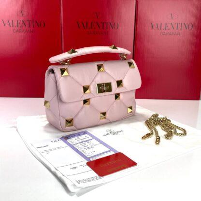 valentino canta pembe medium roman stud with chain 25x16 cm