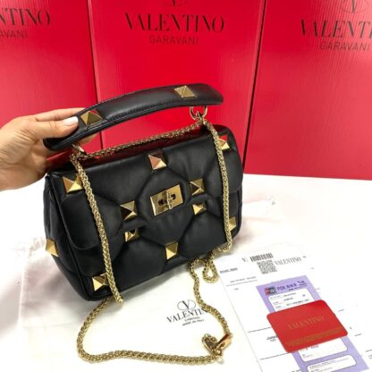 valentino canta siyah medium roman stud with chain 25x16 cm